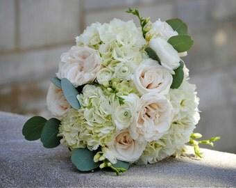 DIY Wedding Flower Package, White Hydrangea, Fresh Flowers, White Bridal Bouquet, Elegant White Wedding