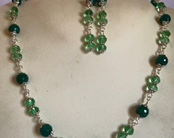 Necklace and earrings on wire in green agate and crystal clear. Coordinated sold in one piece