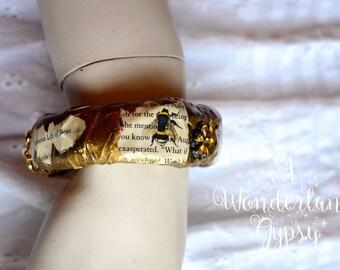 Papier Mache Gypsy Bangle, The Secret Life of Bees, Bees, Paper Mache Bangle, Papier Mache Bracelet, Handmade Bangle, Bees, Wearable Art