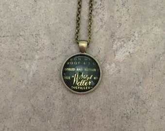 Vintage Bourbon Label Pendant Necklace