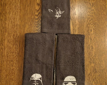 Custom Star Wars Towel Set  (2 hand towels, embroidered) (yoda, stormtrooper, darth vader, star wars, the force, dark side, light side)