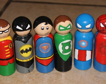 """Super heroes, DC/Marvel comics inspired characters,choice of 1  wooden peg figures, 2 1/2"""""""