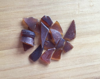 Brown Beach Glass, Genuine Beach Glass, Craft Supply, Jewelry Supply