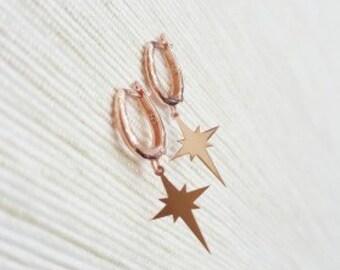 Earrings-Pole Star Earrings-solid silver -North Pole-dangle earrings-rose gold-unique earrings-minimalist-clip on
