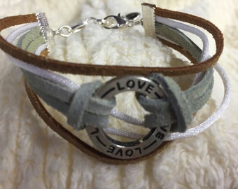 Love leather and rattail cord bracelet