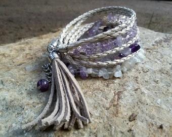 Amethyst bracelet Boho Three wrap Stone Leather bracelet Crown Chakra bracelet Sagittarius gift Aquarius bracelet Hippie Stone jewelry