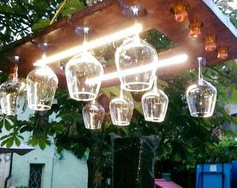 Chandelier Door glasses .  light rustic , farm , tavern , pub , bar.
