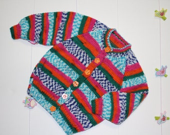 Multi-coloured Bright Hand Knitted jumper