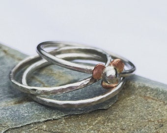 Mixed Metal Flower Stacking Ring set, Stackable Rings, Sterling Silver Rings, Flower Ring, Copper Ring, Set of Three Rings, Flower Jewellery