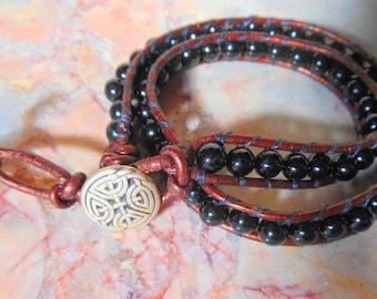 Black glass beads leather 2x wrap boho bohemian