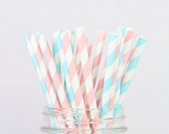 Gender Reveal Paper Straws - Blue and Pink Straws, Baby Shower Decor, Striped Blue Pink Straws, Blush Pink, Aqua, Pink and Blue Party Decor
