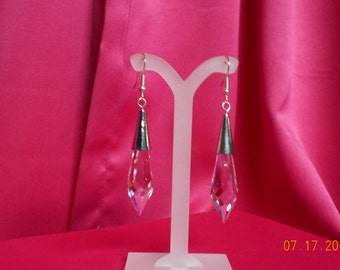 Handmade silver earrings with a large crystal