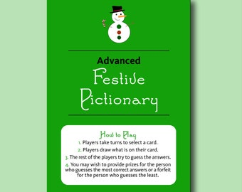 Advanced Festive Pictionary - Fun Printable Christmas Party Game Printable Christmas Games Printable Christmas Pictionary Xmas Game Adults