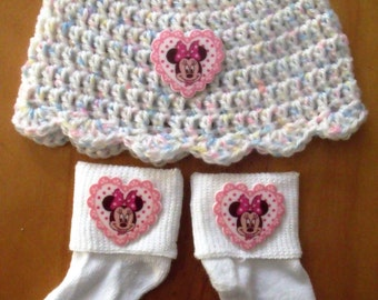 Crochet Baby Hat, Beanie, Sunhat w/Matching Socks Set - Pink Minnie Mouse - Size 0-6 mts months - Great Baby Shower Gift! FREE SHIPPING