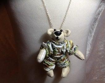 Handmade soft body teddy bear necklace