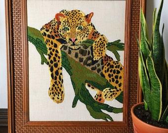 Vintage Cheetah Crewel/ Needlepoint