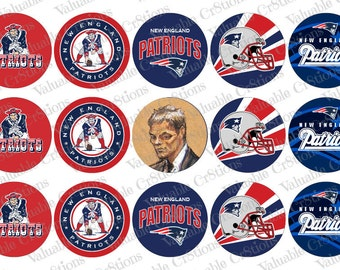 "New England Patriots Bottlecap Images, 1"" Circle Images, 4x6 Collage Sheet, Football Images, Digital Collage Sheet, Cupcake Toppers"