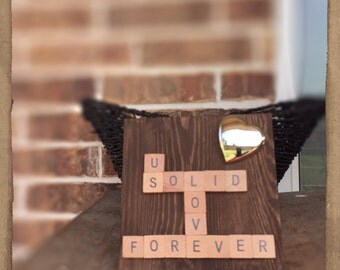 Scrabble wood wall art with silver heart