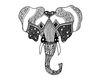 Mandala Elephant Vertical Card