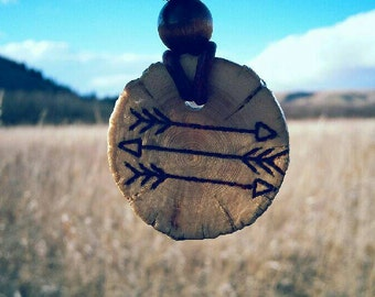 Leather necklace, Wood pendant, outdoors necklace, wood jewelry, reclaimed wood, wood burned pendant, wood slice necklace