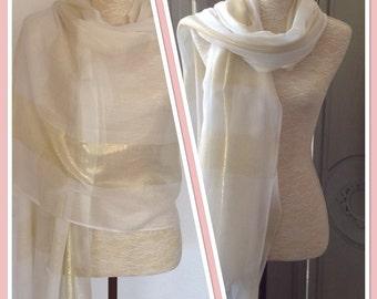 Cream Ivory Gold Lurex Sheen Stripe Pashmina Shawl Wrap Scarf Weddings, Proms Gift Idea Extra Long/Extra Wide