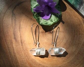 Raw Crystal Quartz Earrings -- Sensitive Ears--No Nickel--Crystal Quartz Points