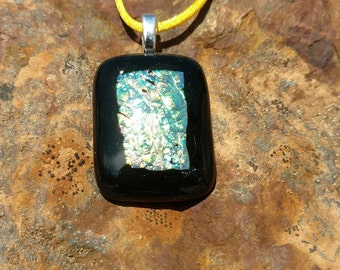 Dichroic Fused Glass Pendant, Black with Shimmering Golds and Greens, Handmade Necklace