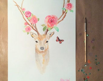 Rose Stag Orange Butterfly Original Watercolour & Mixed Media Painting A3