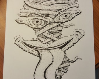 Tornado Monster Original Ink Drawing