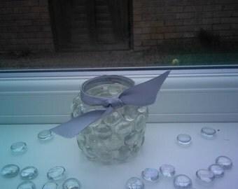 Silver Coloured Glass Bead Tealight Holder