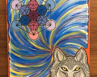 Magical wolf, metatrons cube, sacred geometry, innate wisdom. Vibrant colors swirling down to the source of life. Love. Light. Truth.