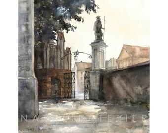 Torun I, watercolour print, architecture