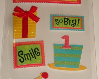 NEW ~ Scrapbooking Dimensional Stickers Happy 1st Birthday Kids Party Favor Embellishments