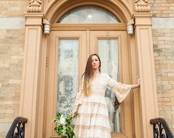 Seventies Mexican Wedding Dress in Ivory