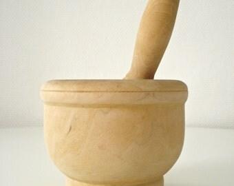 Pestle mortar wooden - Vintage