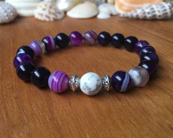 8mm Purple Stripe Agate Beaded Bracelet