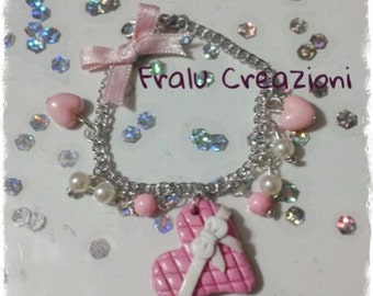 Bracelet with heart fimo and pearls