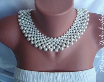 Collar beaded necklace Necklace elegant Detachable Lady pearl collar Necklace White collar Neck klace is very elegant