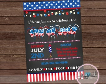 4th of July Party Invitation, Fourth of July Invitation, 4th of July Invitation, BBQ Party Invitation, Independence Day, Digital File.