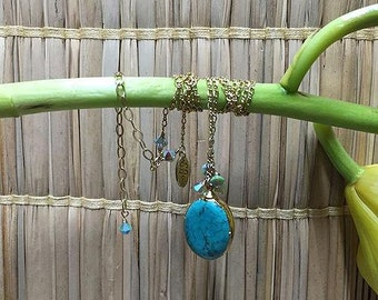 Turquoise Pendant Necklace with Gold-filled chain