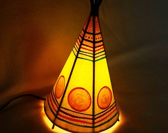 Bedroom lamp/Free Shipping USA/Indian tent lamp/Tipi Lamp/Table Indian Lamp