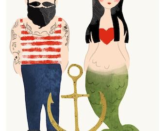 Sailor Tattoo Man & Mermaid Love Art Print Valentines Day Valentines Gift
