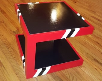 Black and Red Coffee Table, End Table, Side Table