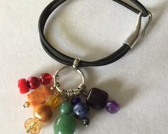 Gemstone Charm Black Stretchy Bracelet