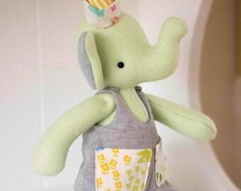 PDF Pattern - 'Pockets' - Felt Elephant Softie with Linen Dungarees  - Instant Digital Download - Plush Children's Toy