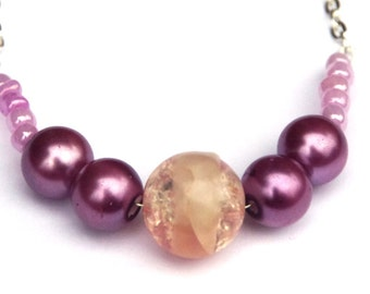 Pink and purple beaded necklace - long chain necklace - pink beads - purple beads