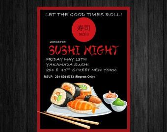 Sushi Night Invite/Custom Printable Asian themed Invitation