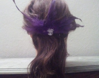 Purple Feather Hair Clip