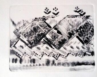 Original Oil Monotype Print 'BC Mountains'