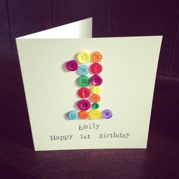 Button Age Birthday Card 1st 2nd 3rd 4th 5th 6th 7th 8th